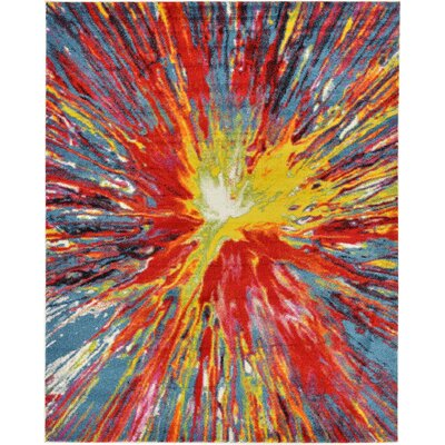Elvia Yellow/Red Area Rug Rug Size: Rectangle 8 x 10