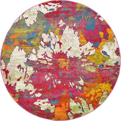 Elvia Pink Area Rug Rug Size: Round 6 x 6