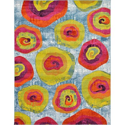 Elvia Yellow/Light Blue Area Rug Rug Size: 9 x 12