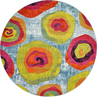 Elvia Yellow/Light Blue Area Rug Rug Size: Round 8