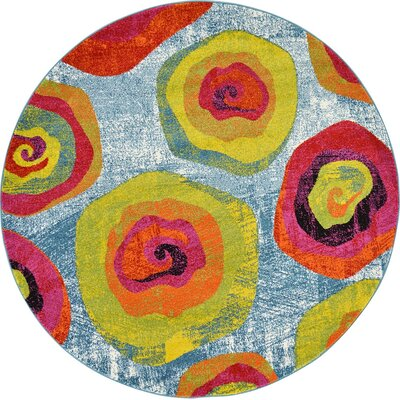 Elvia Yellow/Light Blue Area Rug Rug Size: Round 6