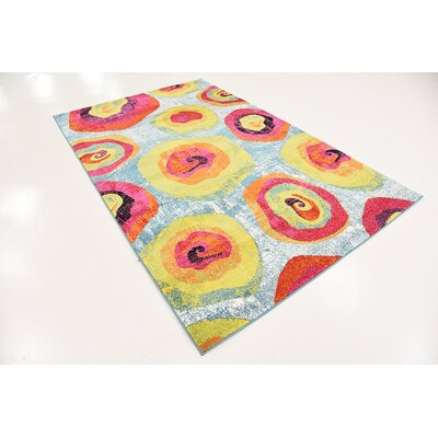 Elvia Yellow/Light Blue Area Rug Rug Size: 5 x 8