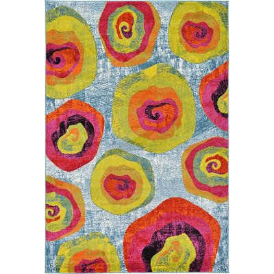 Elvia Yellow/Light Blue Area Rug Rug Size: 6 x 9