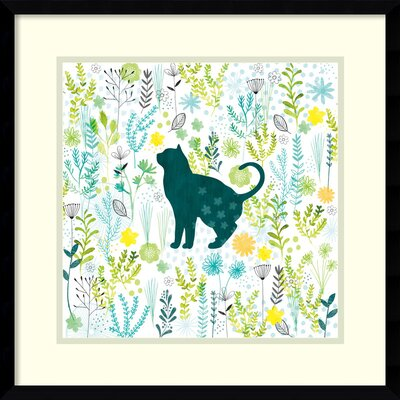 Cats in the Garden I Framed Graphic Art