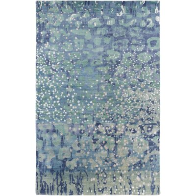 Eridani Hand-Knotted Sky Blue Area Rug Rug size: 5 x 8