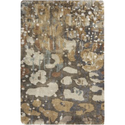 Eridani Hand-Knotted Dark Brown Area Rug Rug size: 5 x 8
