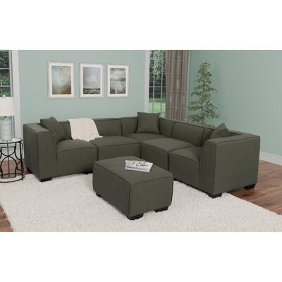Randy Sectional with Ottoman Upholstery: Army Green