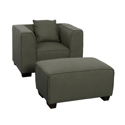 Randy Armchair and Ottoman Set Upholstery: Army Green