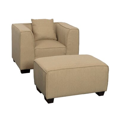 Randy Armchair and Ottoman Set Upholstery: Beige