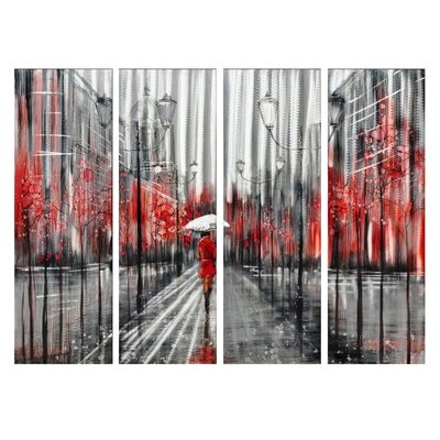 Downtown 4 Piece Painting Print on Canvas Set
