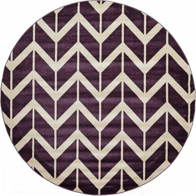 Ramino Purple Area Rug Rug Size: Round 8