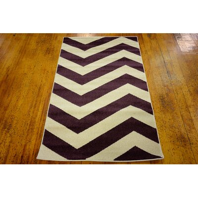 Arlott Purple/Cream Area Rug Rug Size: 33 x 53