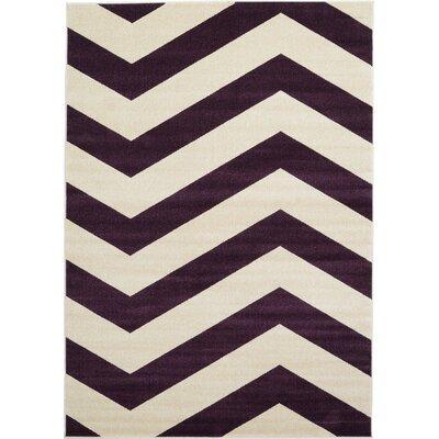 Arlott Purple/Cream Area Rug Rug Size: 7' x 10'