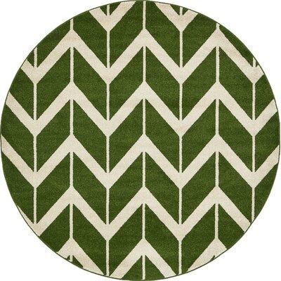Essie Green/Beige Area Rug Rug Size: Round 6