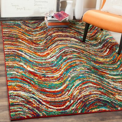 Miley Red/Green/Yellow Area Rug Rug Size: 53 x 76