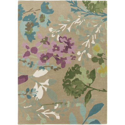 Josh Hand-Tufted Tan Area Rug Rug size: 5 x 8