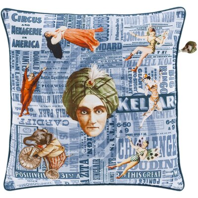 Janie 100% Cotton Throw Pillow Cover Size: 18 H x 18 W x 0.25 D, Color: Blue