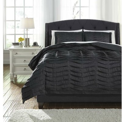 Bluestone 3 Piece Duvet Cover Set Size: Queen, Color: Charcoal