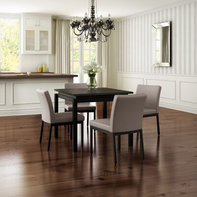 Madeleine 5 Piece Dining Set Finish: Textured Dark Brown / Warm Gray
