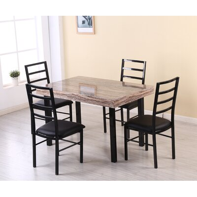 Rubino 5 Piece Dining Set Table Top Color: Brown