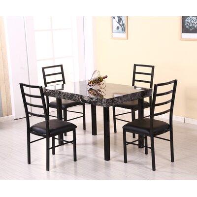 Rubino 5 Piece Dining Set Table Top Color: Gray