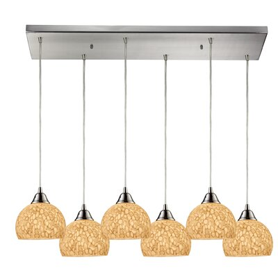 Redd 6-Light Kitchen Island Pendant Shade Color: Pebbled Blue