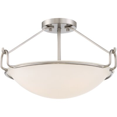 Roseann 3-Light Semi Flush Mount Finish: Brushed Nickel