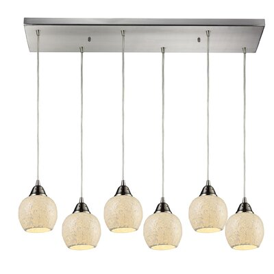 Michalski 6-Light Kitchen Island Pendant Shade Color: Cloud