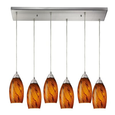Panek 6-Light Kitchen Island Pendant Shade Color: Smoke