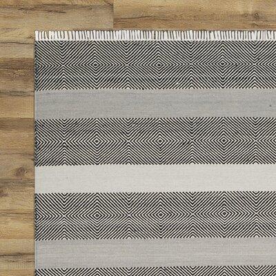 Amerina Hand-Woven Gray/Black Area Rug Rug Size: 5 x 8