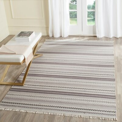 Amerina Hand-Woven Gray Area Rug Rug Size: Rectangle 4 x 6