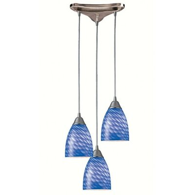 Rena 3-Light Pendant Glass Type: Sapphire