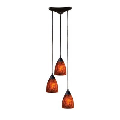 Robbie 3-Light Pendant Glass Type: Mountain