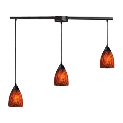 Robbie 3-Light Linear Pendant Glass Type: Snow White