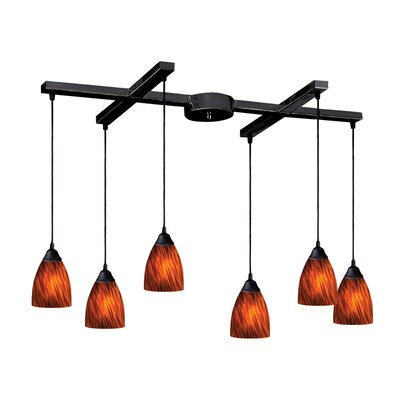 Robbie 6-Light Pendant Glass Type: Fire Red