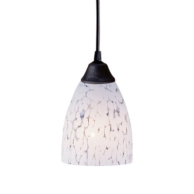 Robbie 1-Light Mini Pendant Finish: Dark Rust and Fire Red Glass