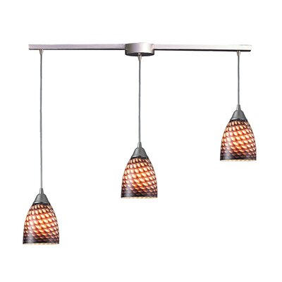 Rena 3-Light Linear Pendant Glass Type: Sapphire
