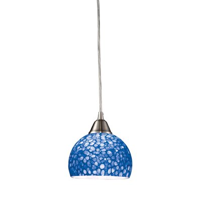 Redd 1-Light Pendant Finish: Blue with Satin Nickel, Bulb Type: Halogen
