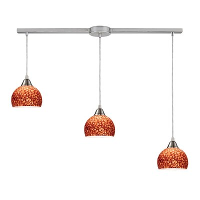 Redd 3-Light Linear Pendant Finish: Blue with Satin Nickel