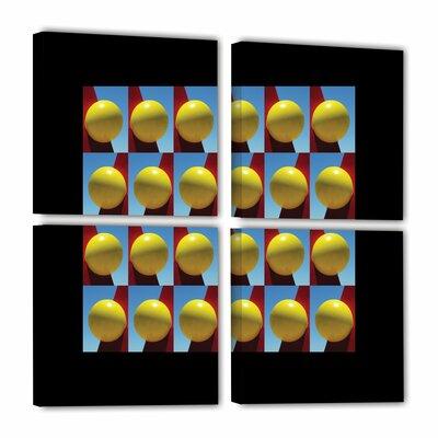 Lemon Drops Black Border 4 Piece Photographic Print on Wrapped Canvas Set Size: 36
