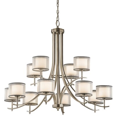 Ronald 12-Light Shaded Chandelier Finish: Antique Pewter