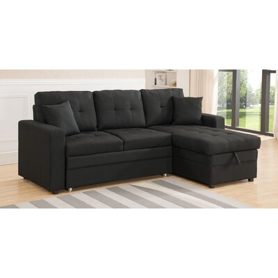 Weymand Reversible Sleeper Sectional Upholstery: Black