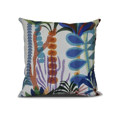 Braylen Jungle Floral Print Outdoor Throw Pillow Color: Light Blue, Size: 18 H x 18 W x 3 D