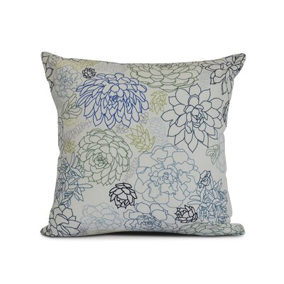 Neville Print Throw Pillow Size: 16 H x 16 W x 3 D, Color: Navy Blue
