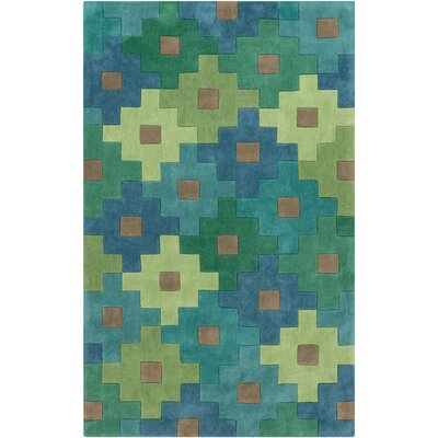 Millington Hand-Tufted Green/Emerald Area Rug Rug Size: Round 8
