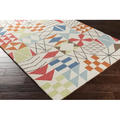 Bryant Hand-Hooked Neutral/Orange Area Rug