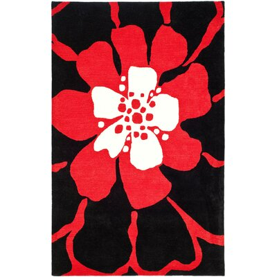 Woodburn Hand-Tufted Black / Red Area Rug