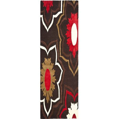 Freda Hand-Tufted Wool Brown/Red/Beige Area Rug Rug Size: Rectangle 26 x 6