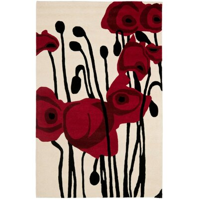 Woodburn Hand-Tufted Ivory/Red Area Rug Rug Size: Rectangle 36 x 56