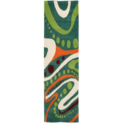 Woodburn Hand-Tufted Teal Area Rug Rug Size: Runner 26 x 6